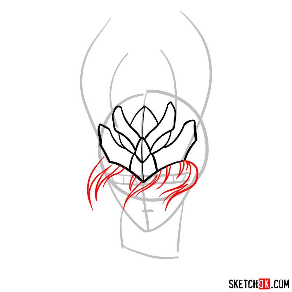 How to draw Shiryu's face (Saint Seiya) - step 05