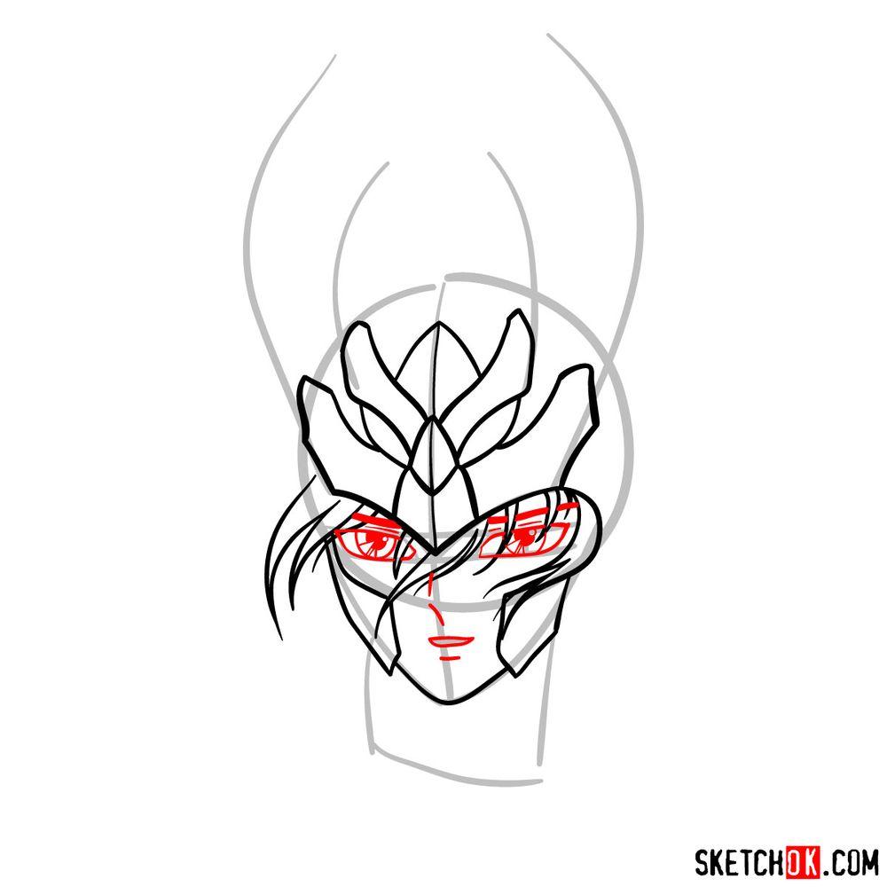 How to draw Shiryu's face (Saint Seiya) - step 07
