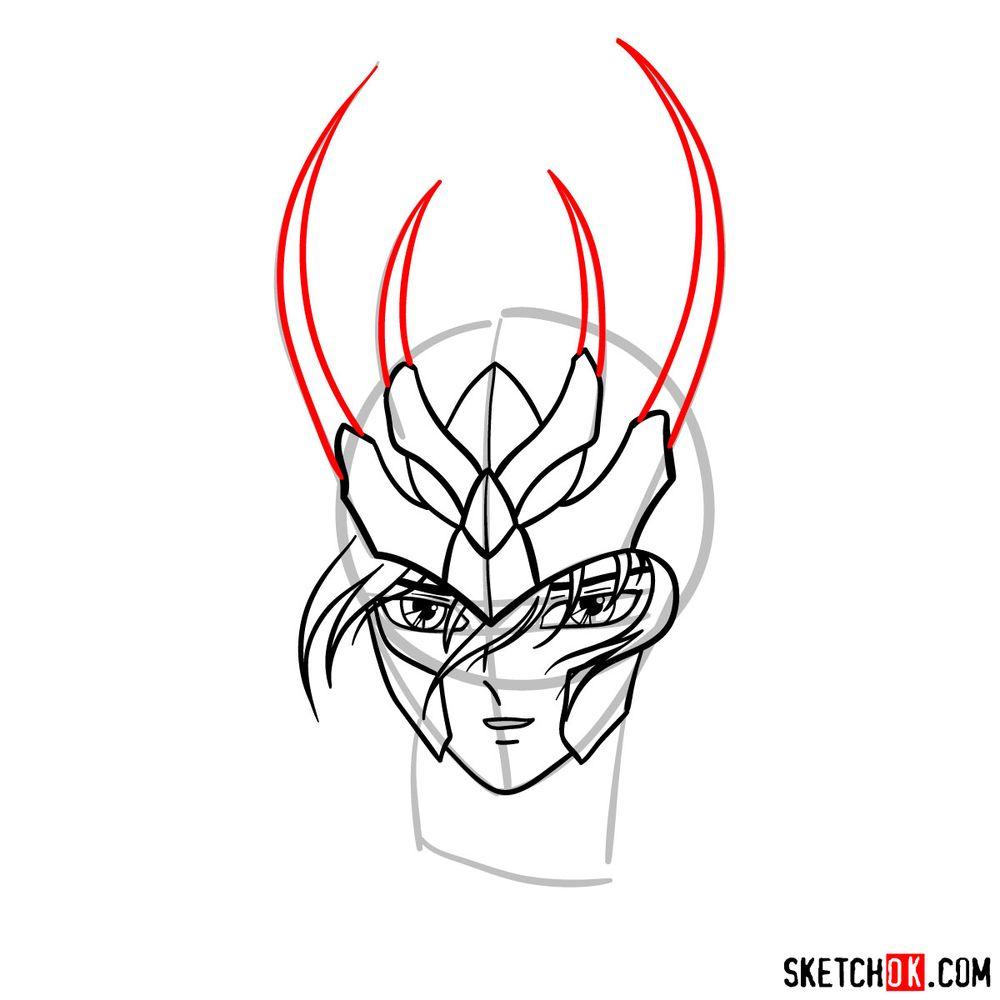 How to draw Shiryu's face (Saint Seiya) - step 08