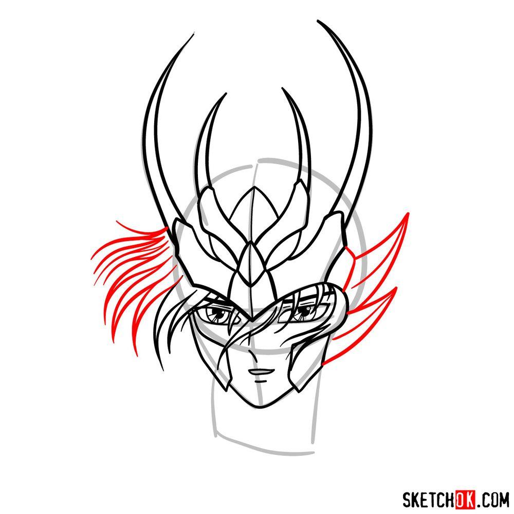 How to draw Shiryu's face (Saint Seiya) - step 09
