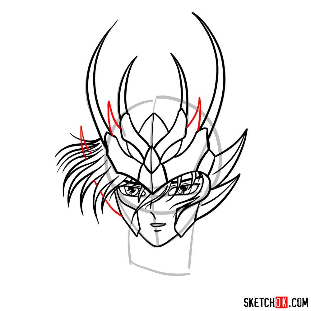 How to draw Shiryu's face (Saint Seiya) - step 10