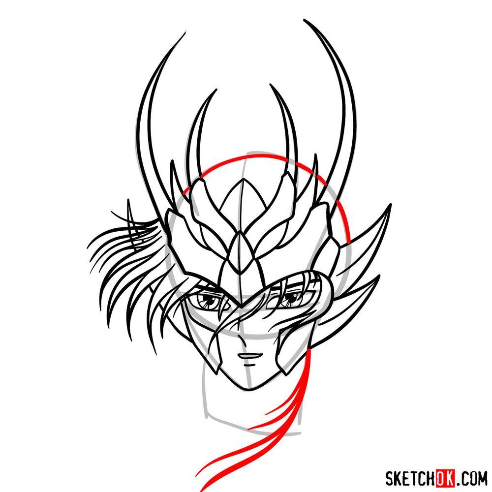 How to draw Shiryu's face (Saint Seiya) - step 11