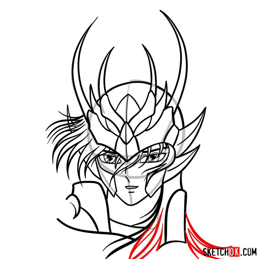How to draw Shiryu's face (Saint Seiya) - step 13