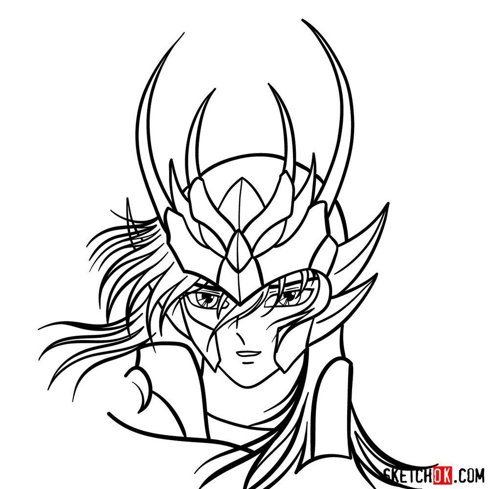 How to draw Shiryu's face (Saint Seiya) - step 15