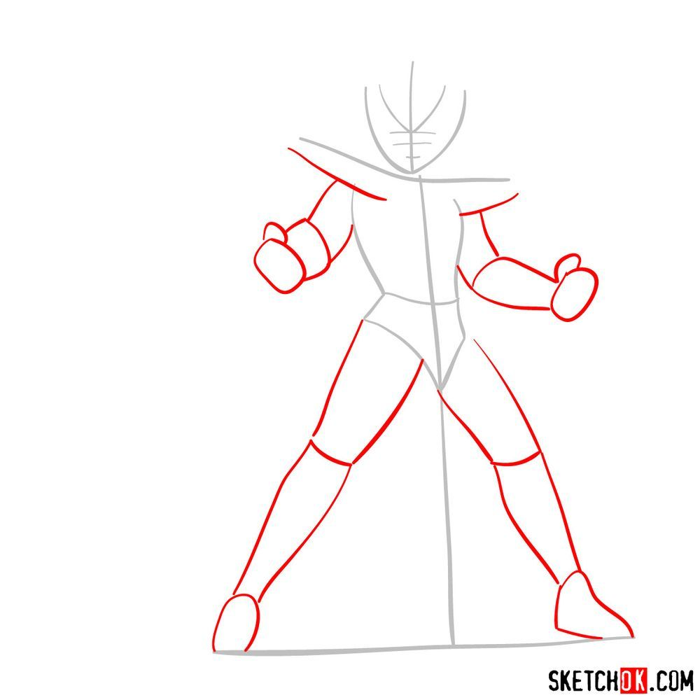 How to draw Pegasus Seiya in God Cloth - step 02