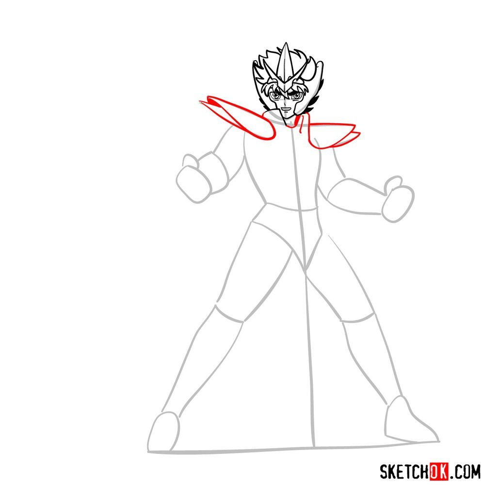 How to draw Pegasus Seiya in God Cloth - step 08