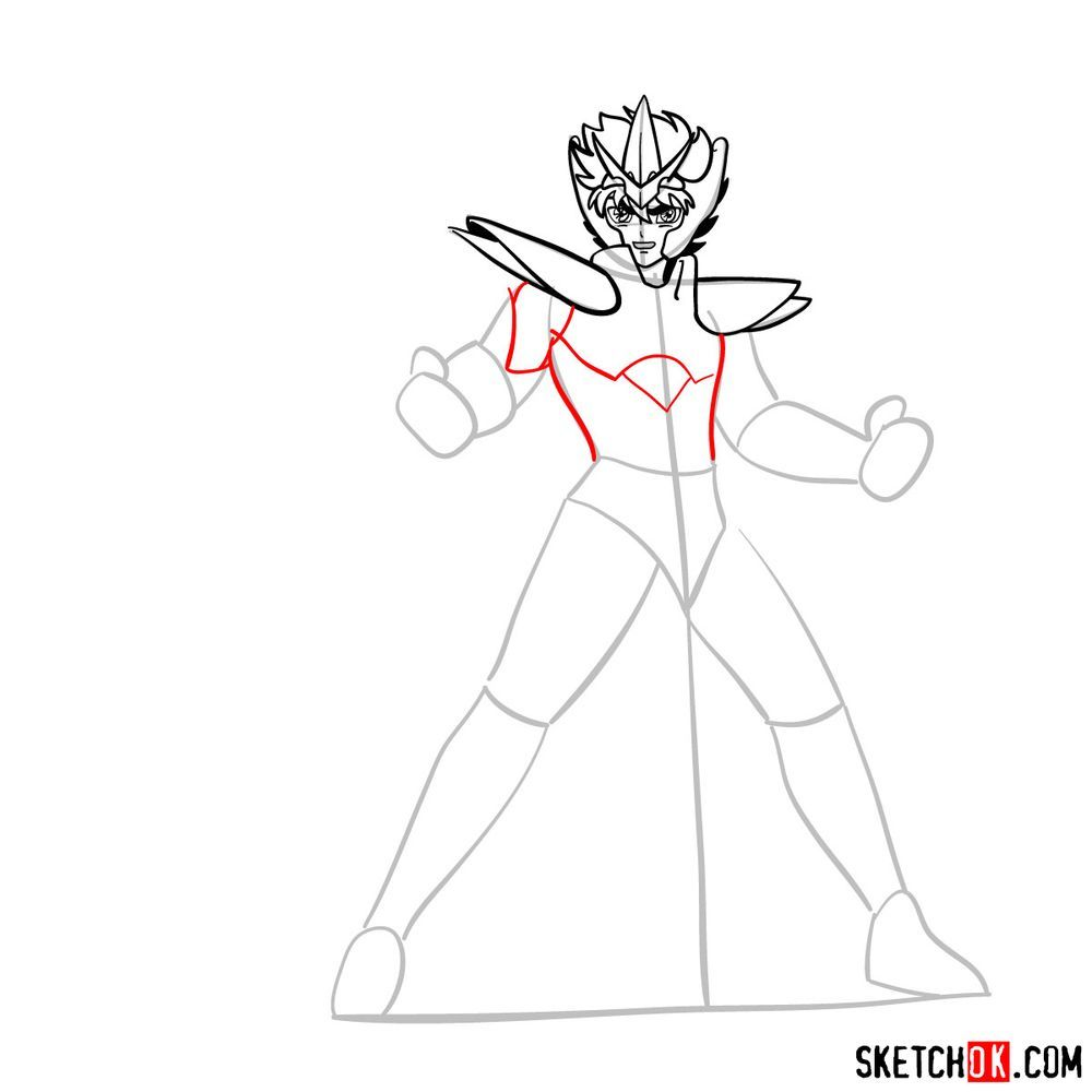 How to draw Pegasus Seiya in God Cloth - step 09
