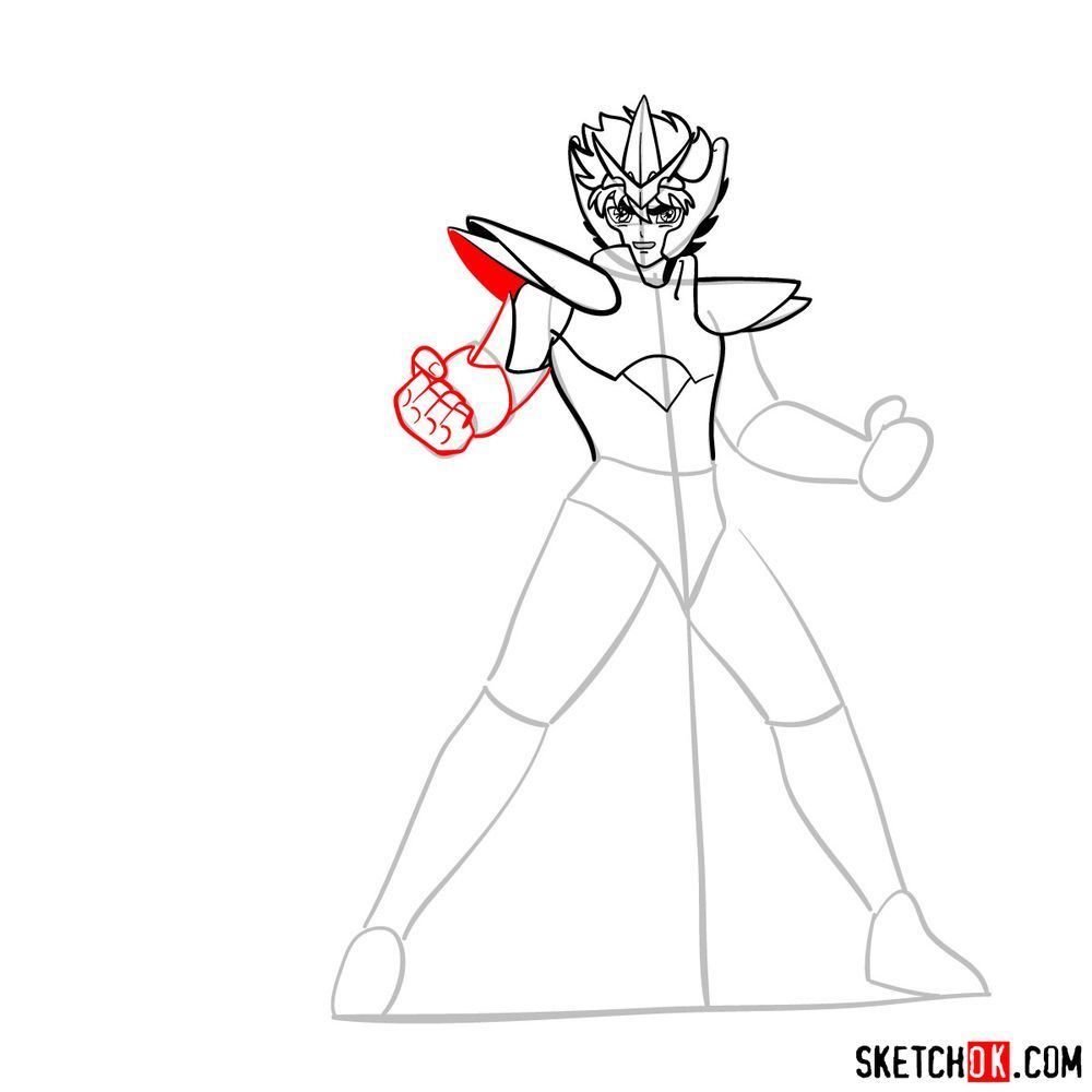How to draw Pegasus Seiya in God Cloth - step 10