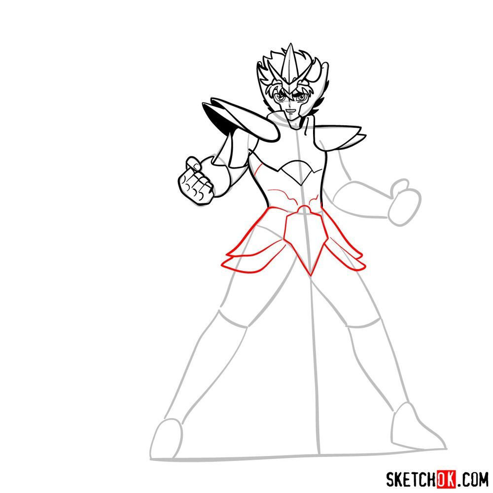 How to draw Pegasus Seiya in God Cloth - step 11
