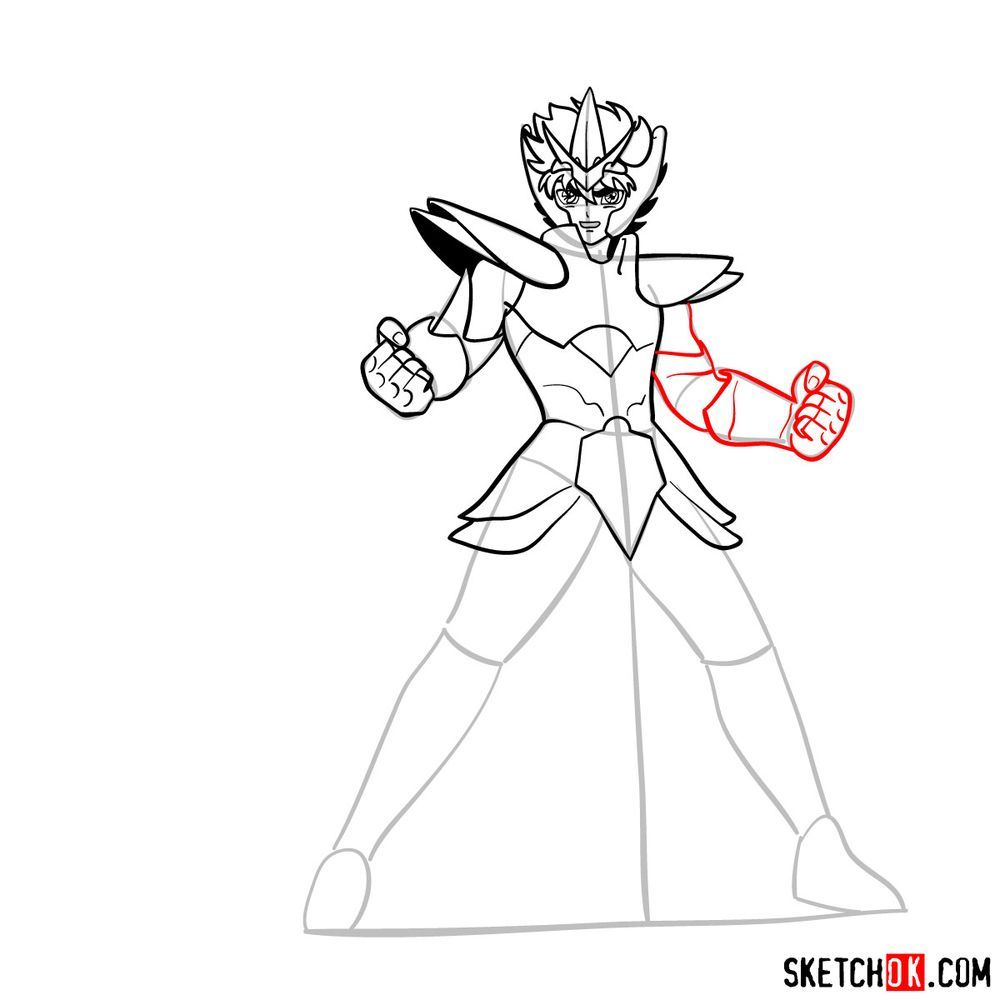 How to draw Pegasus Seiya in God Cloth - step 12