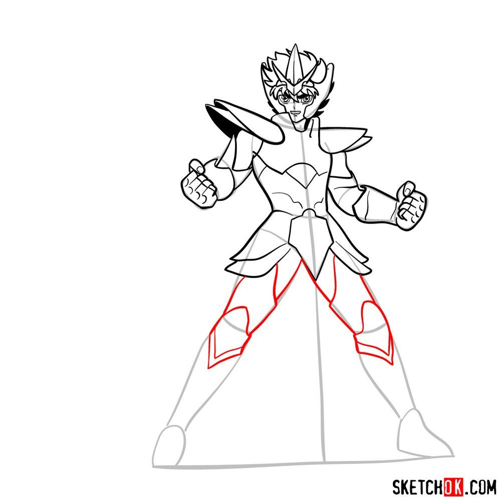 How to draw Pegasus Seiya in God Cloth - step 13