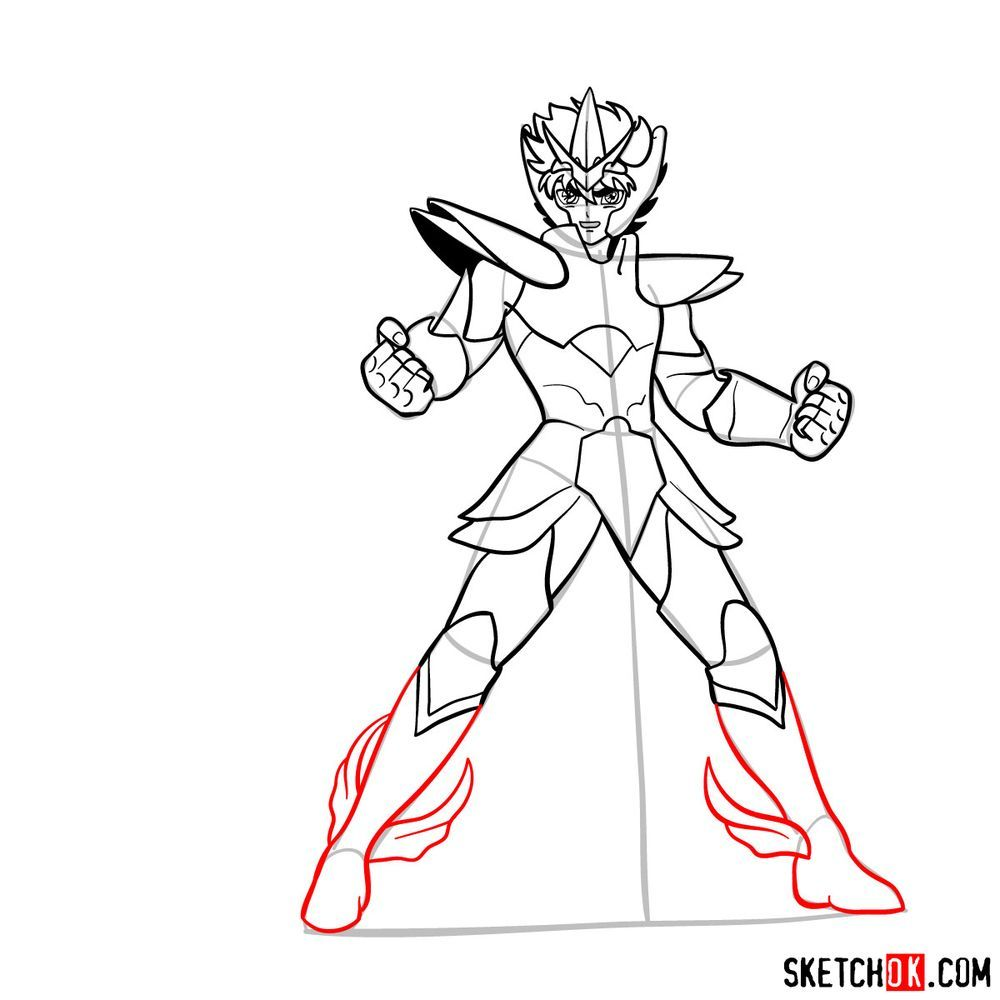 How to draw Pegasus Seiya in God Cloth - step 14