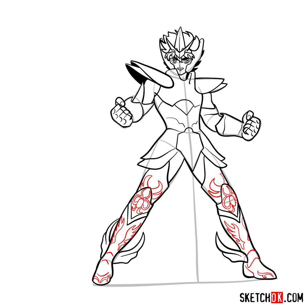 How to draw Pegasus Seiya in God Cloth - step 15