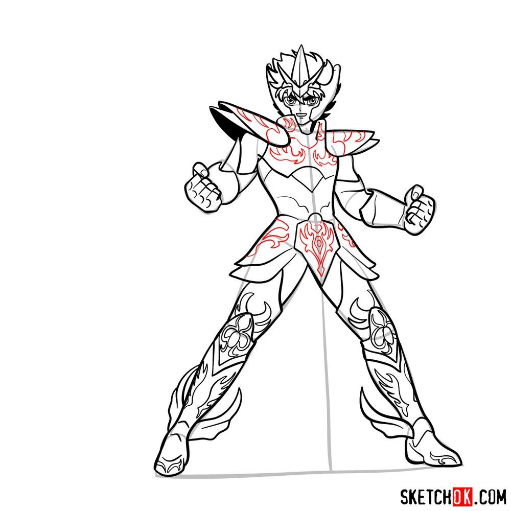 How to draw Pegasus Seiya in God Cloth - step 16