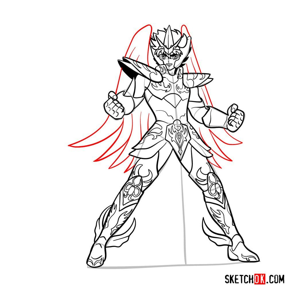 How to draw Pegasus Seiya in God Cloth - step 17