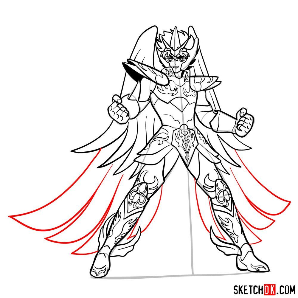 How to draw Pegasus Seiya in God Cloth - step 18