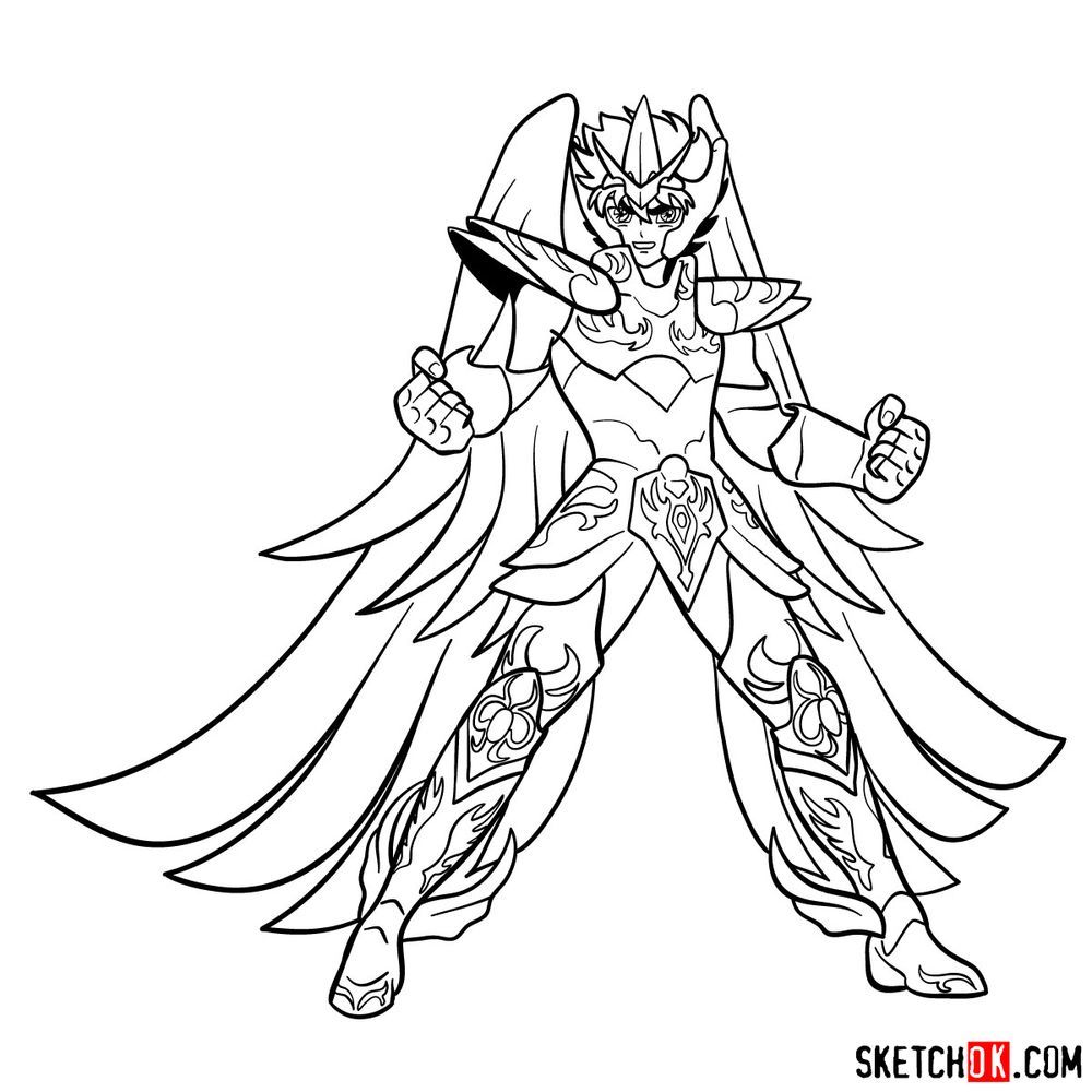 How to draw Pegasus Seiya in God Cloth - step 19