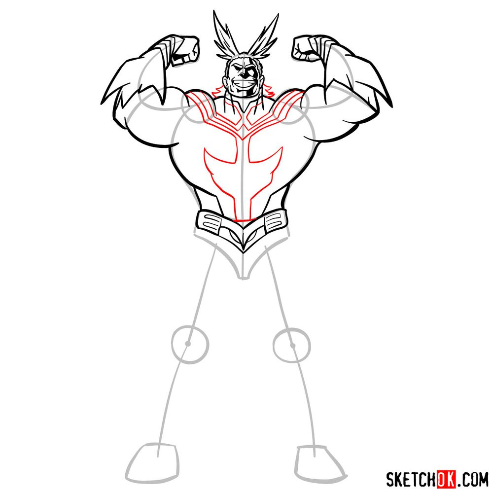 How to draw All Might - step 12
