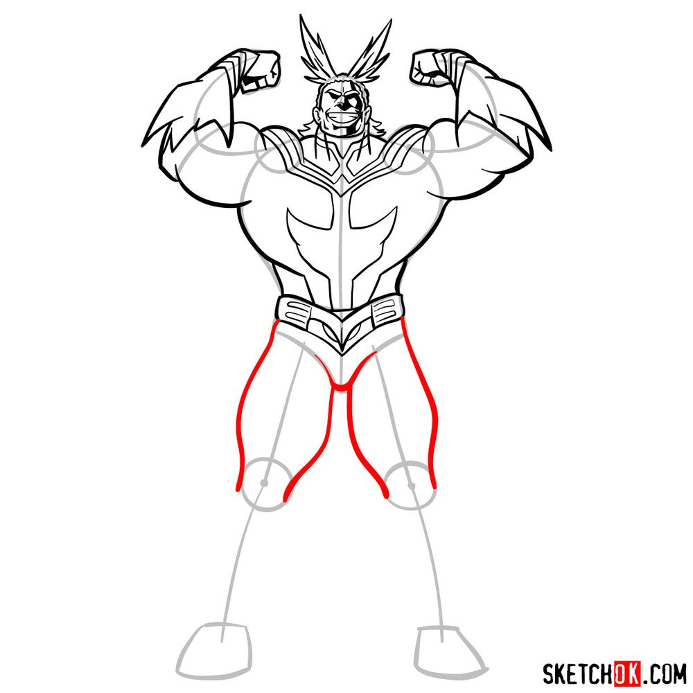 How to draw All Might - step 13