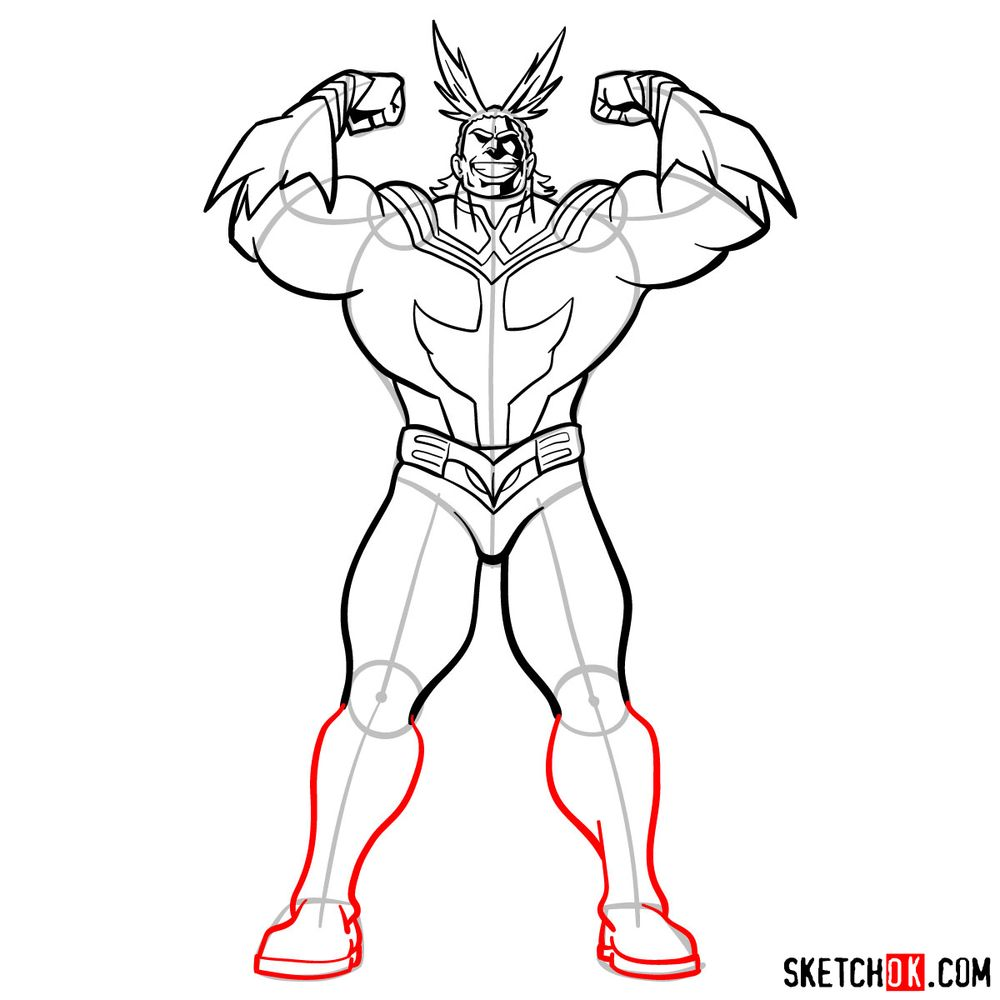 How to draw All Might - step 14
