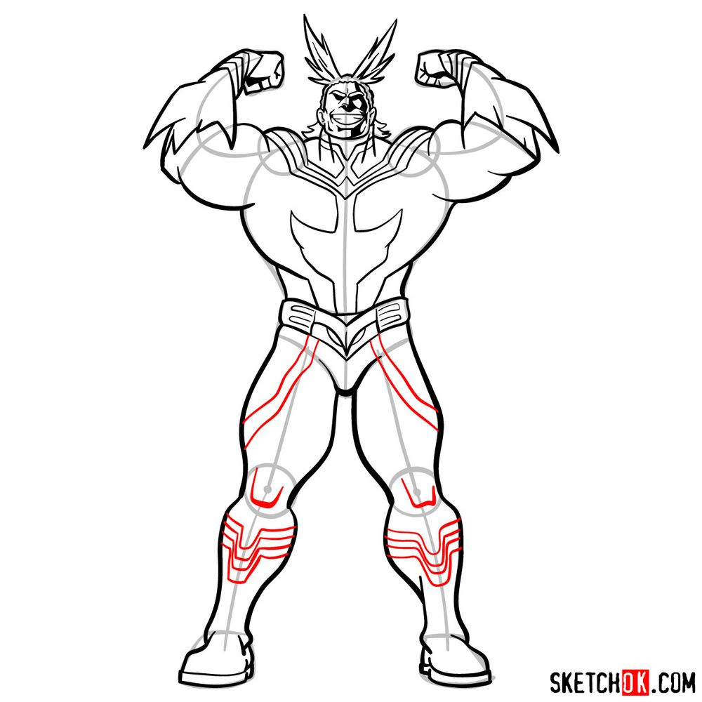 How to draw All Might - step 15