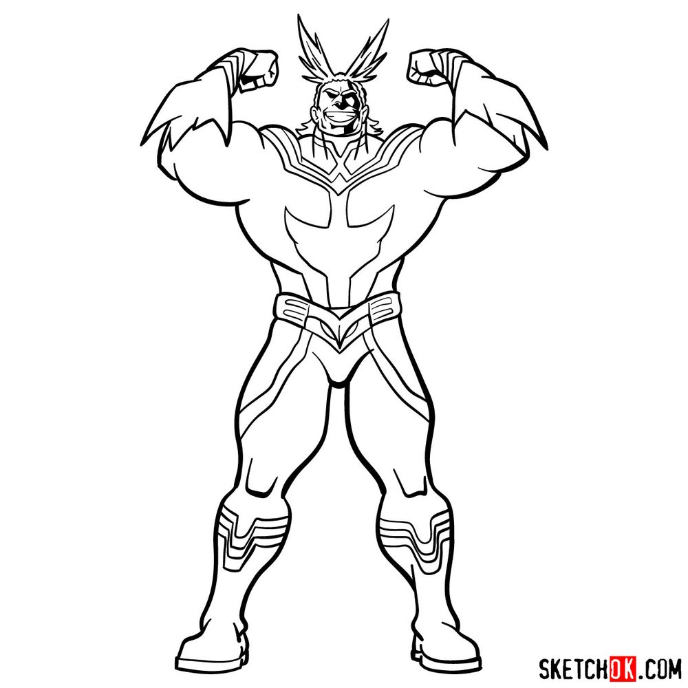 How to draw All Might - step 16