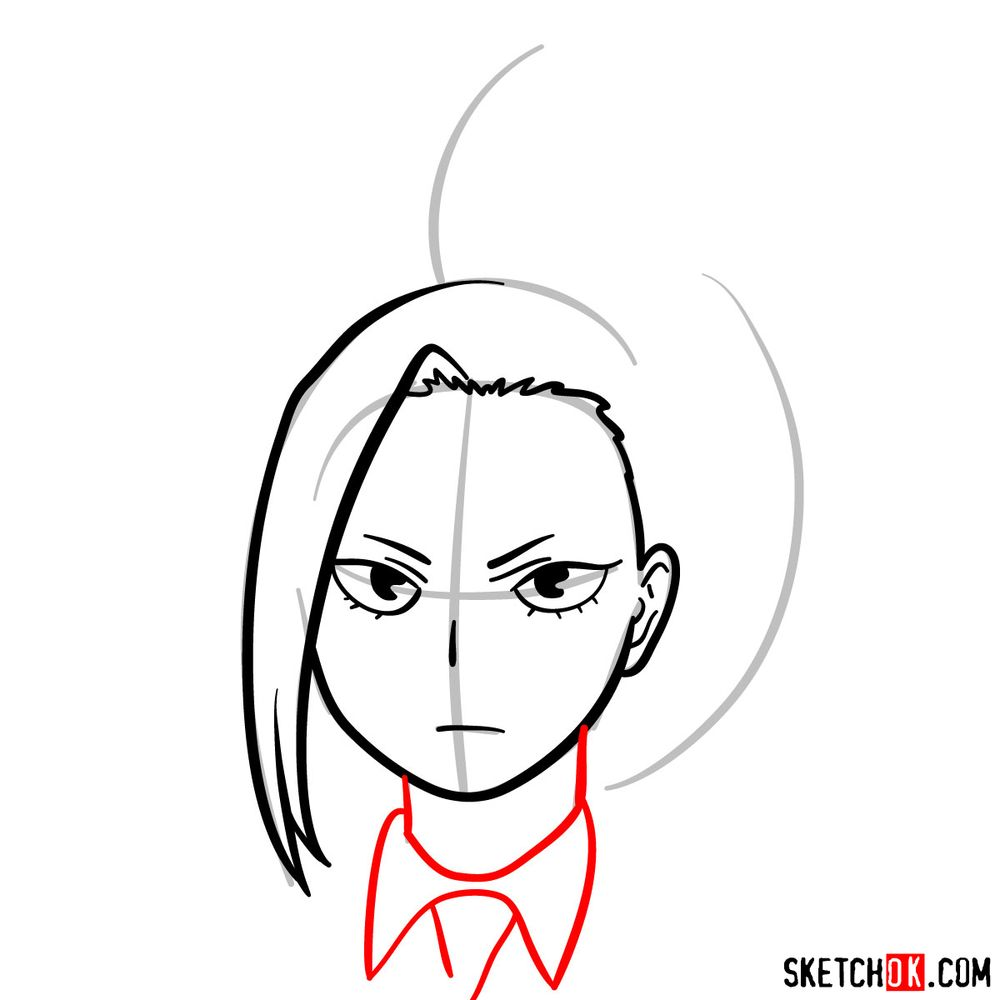 How to draw Momo Yaoyorozu's face - step 07