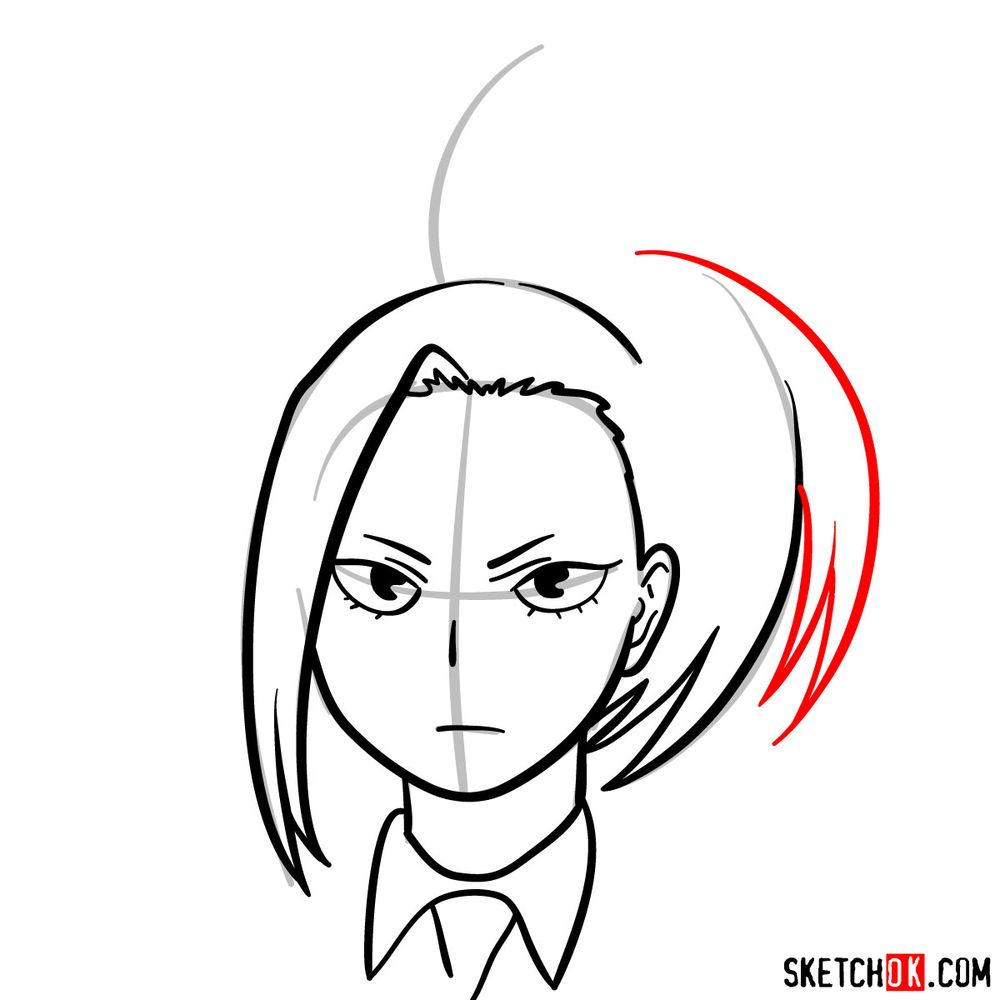 How to draw Momo Yaoyorozu's face - step 09