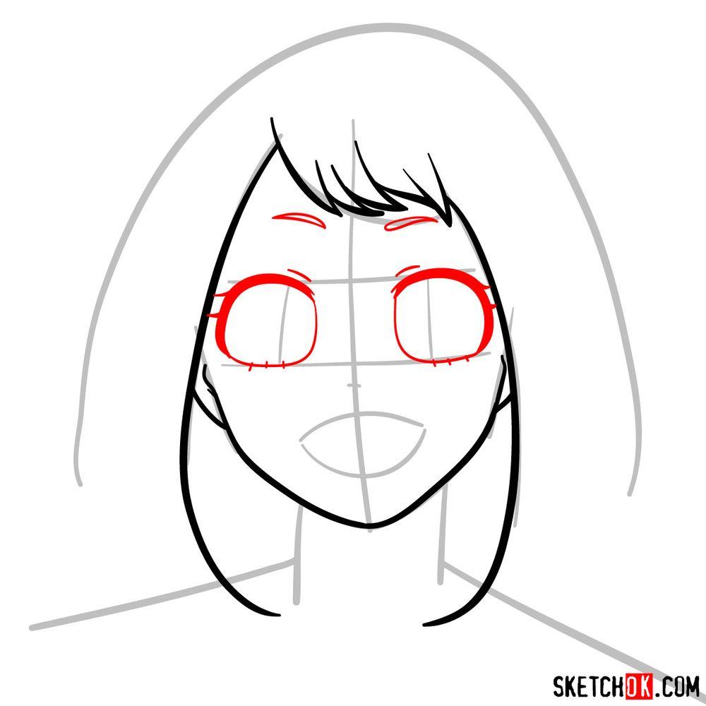 How to draw Ochaco Uraraka's face - step 05