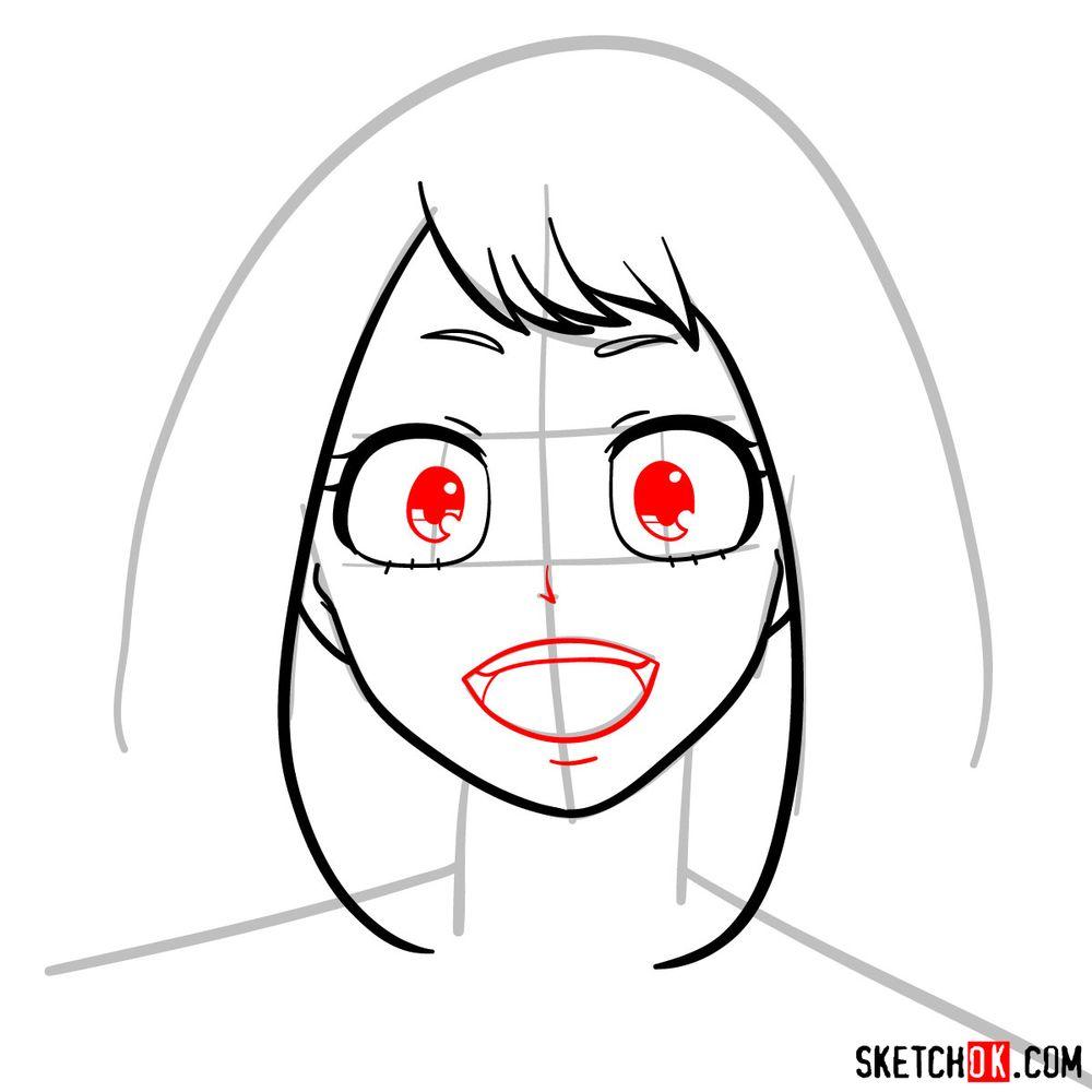 How to draw Ochaco Uraraka's face - step 06