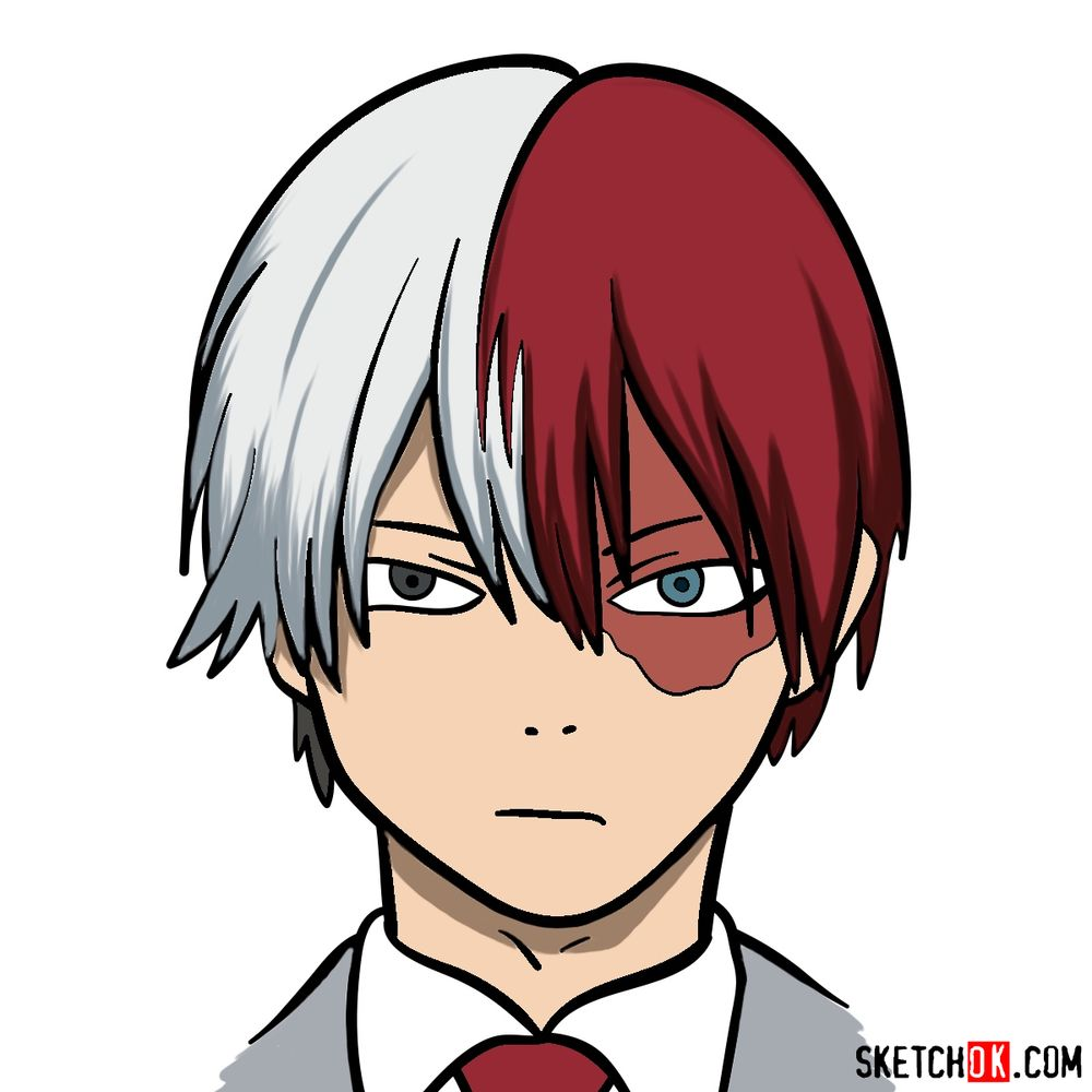 How to draw Shoto's face