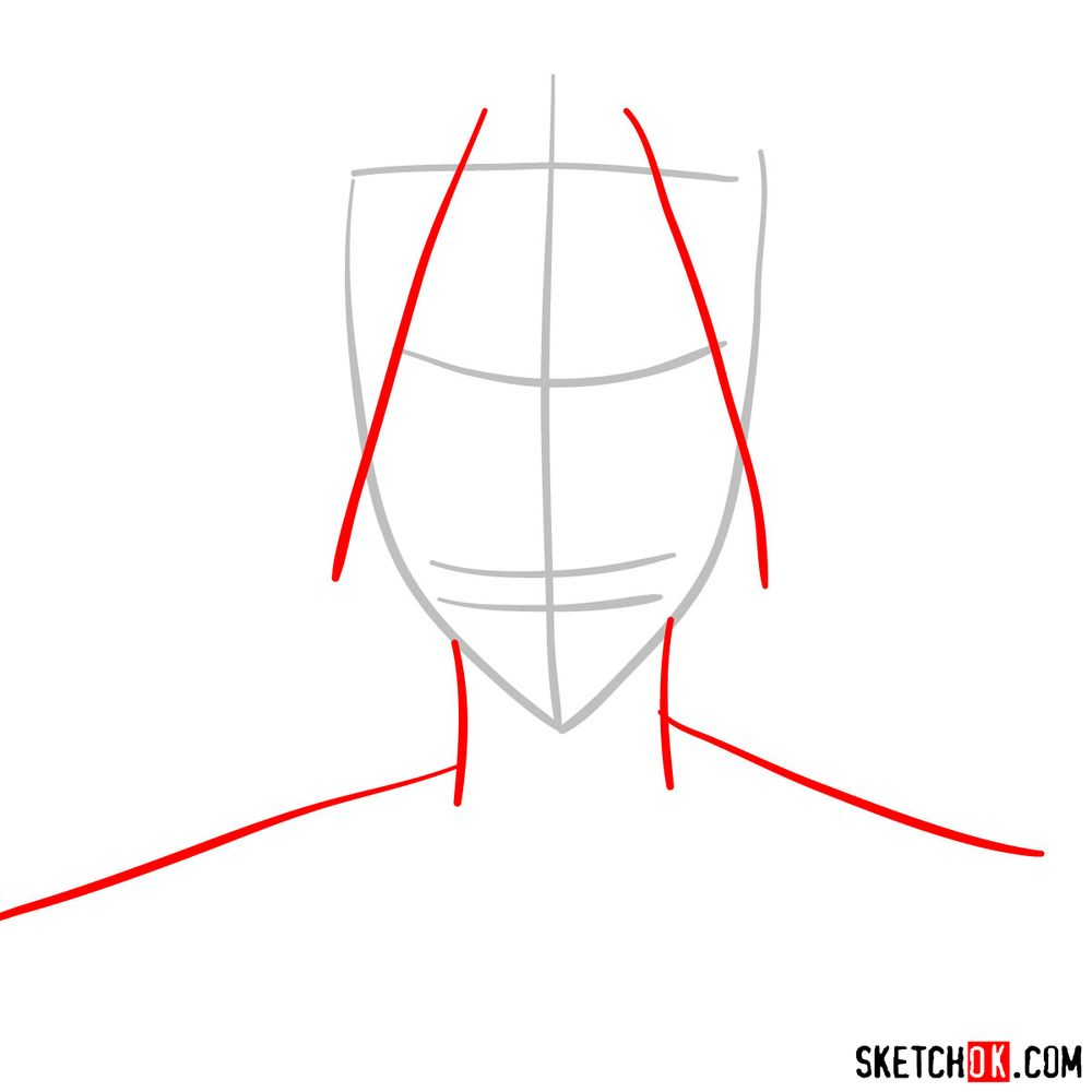 How to draw All Might's face - step 02