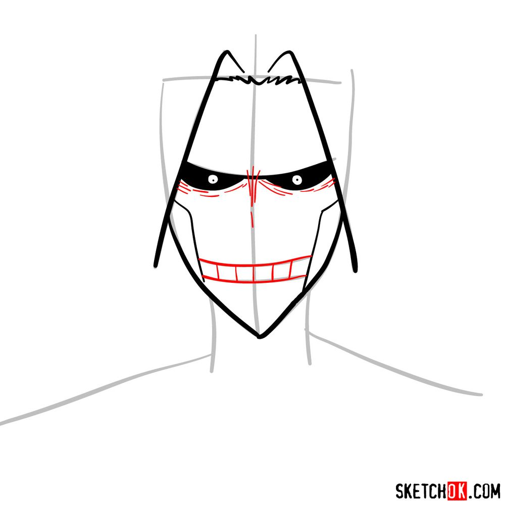 How to draw All Might's face - step 06