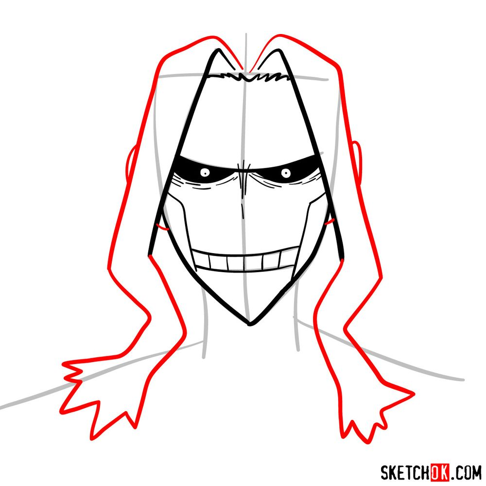 How to draw All Might's face - step 07