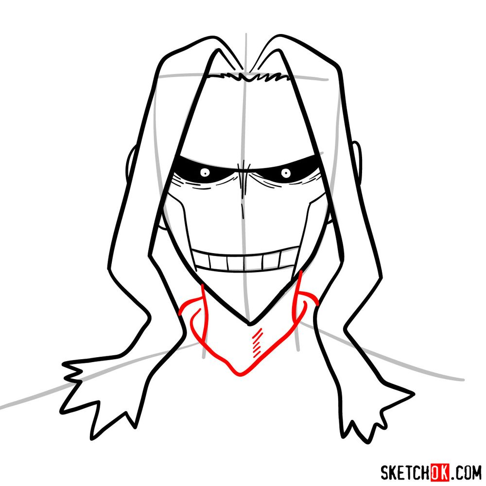 How to draw All Might's face - step 08