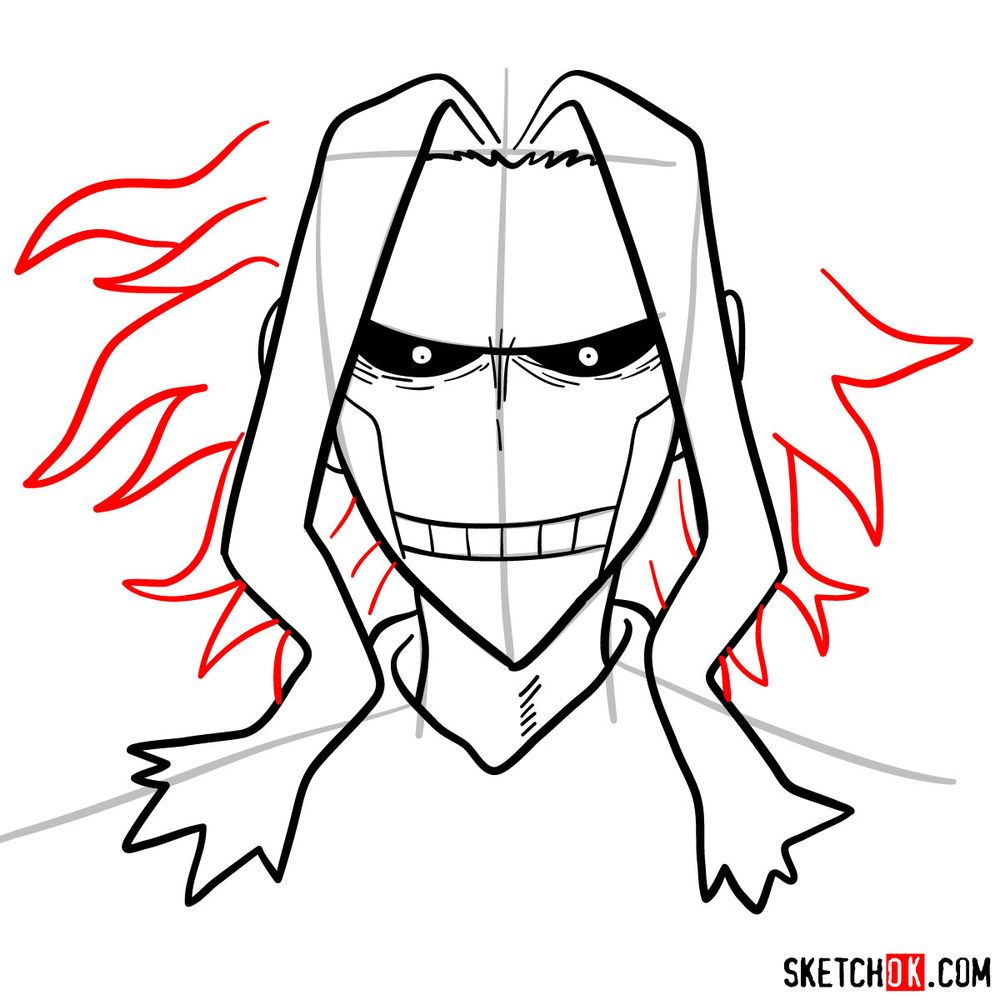 How to draw All Might's face - step 09