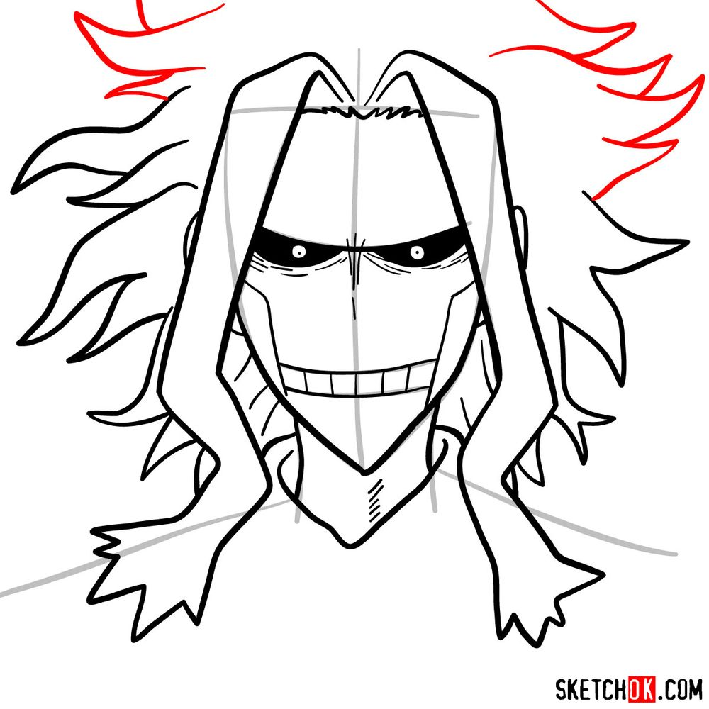 How to draw All Might's face - step 10