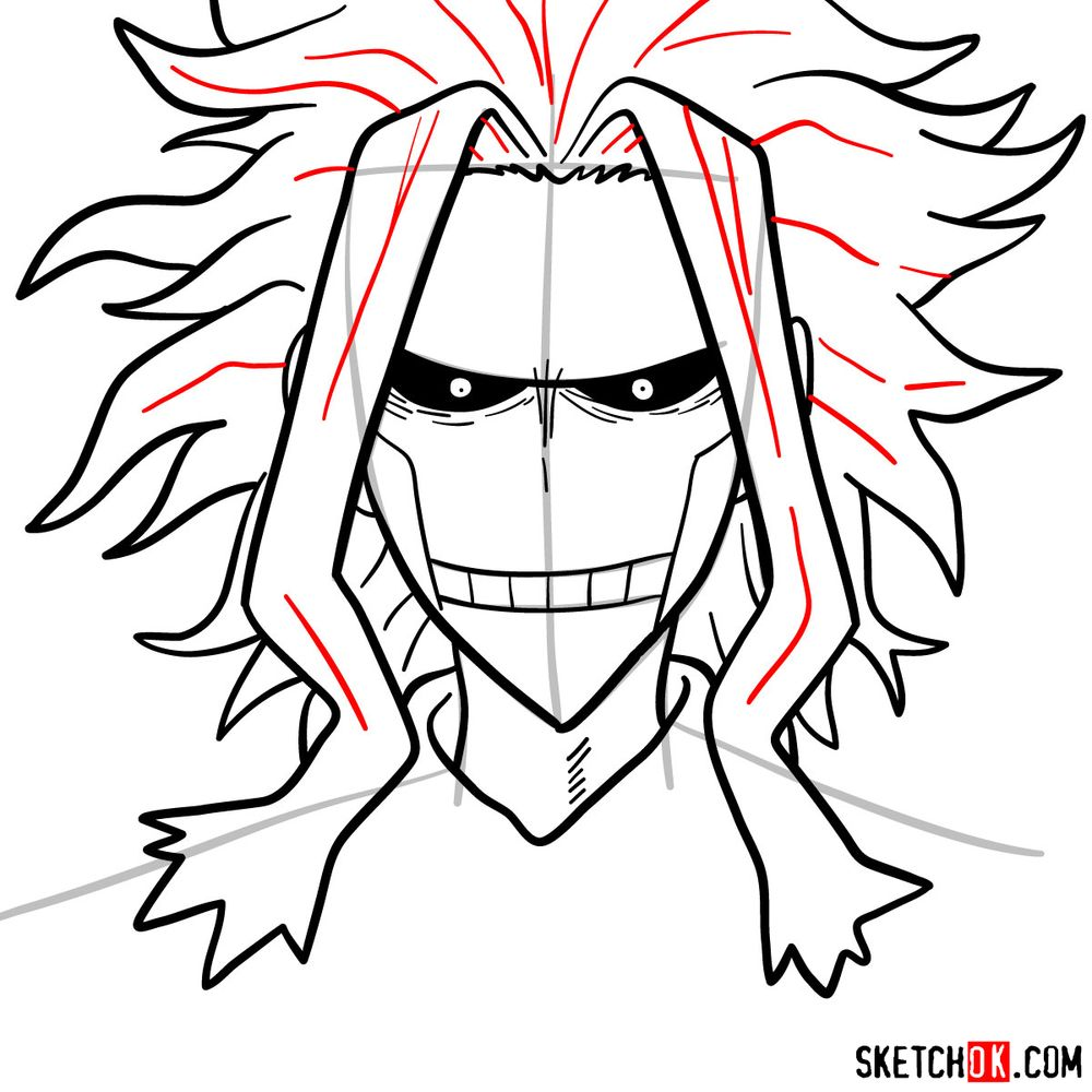 How to draw All Might's face - step 11
