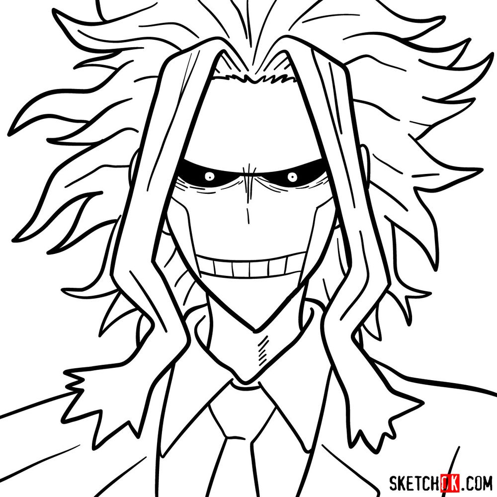 How to draw All Might's face - step 14