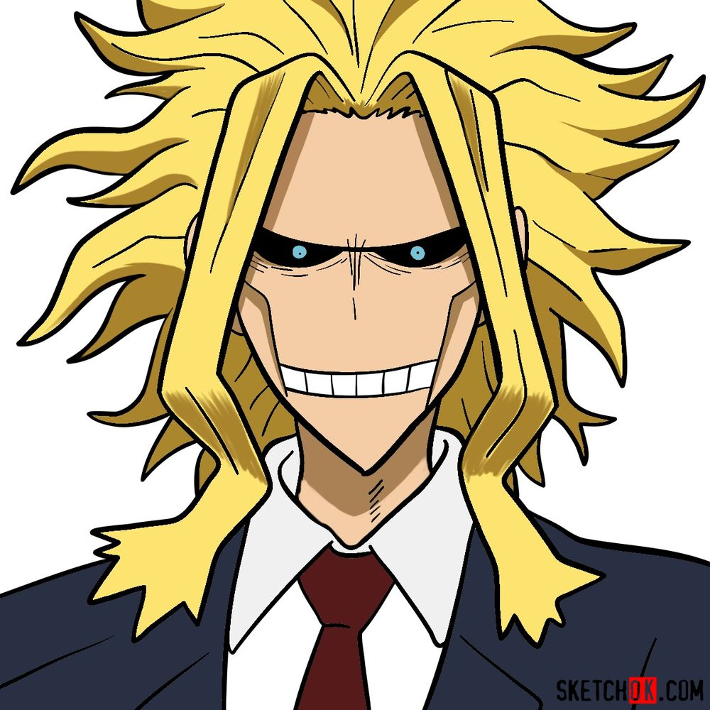 How to draw All Might's face
