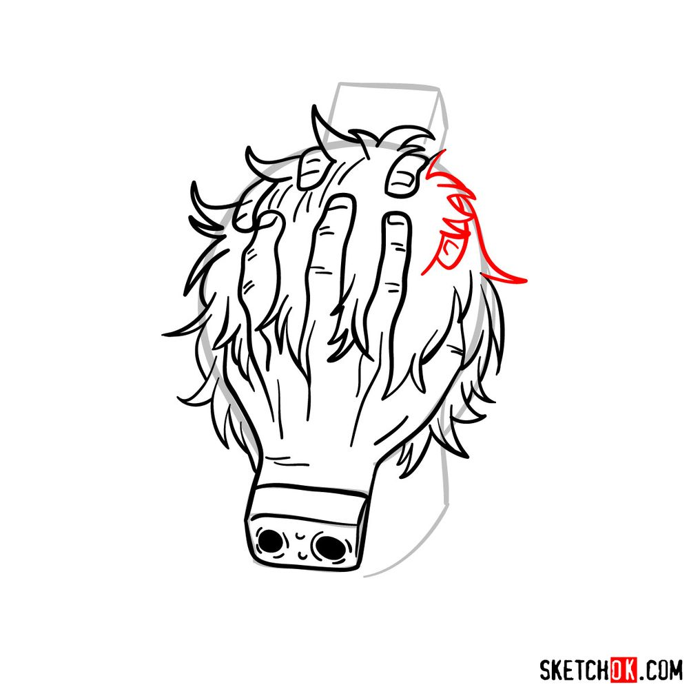 How to draw Tomura Shigaraki's head - step 11