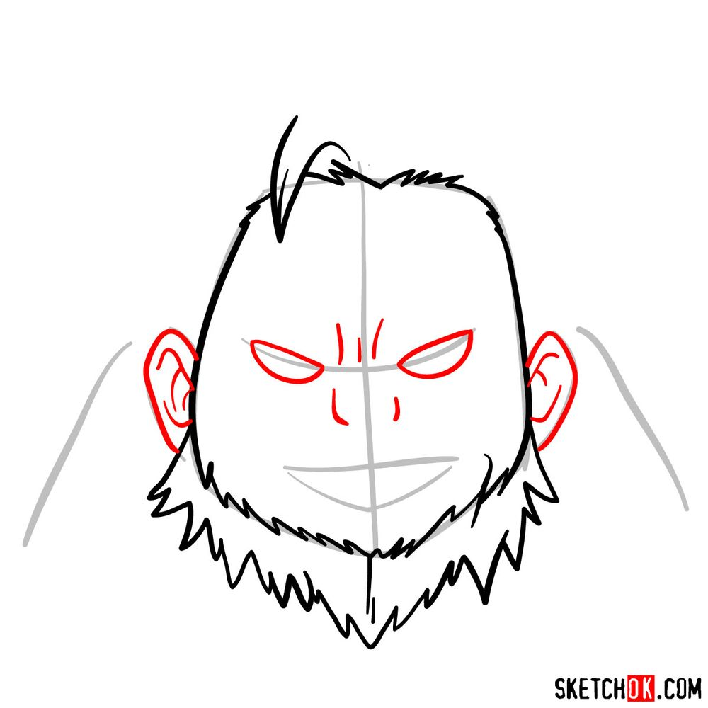 How to draw Gran Torino's face | My Hero Academia - step 06