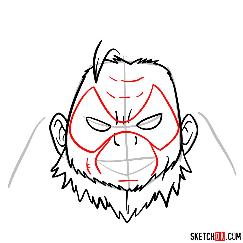 How to draw Gran Torino's face | My Hero Academia - step 07