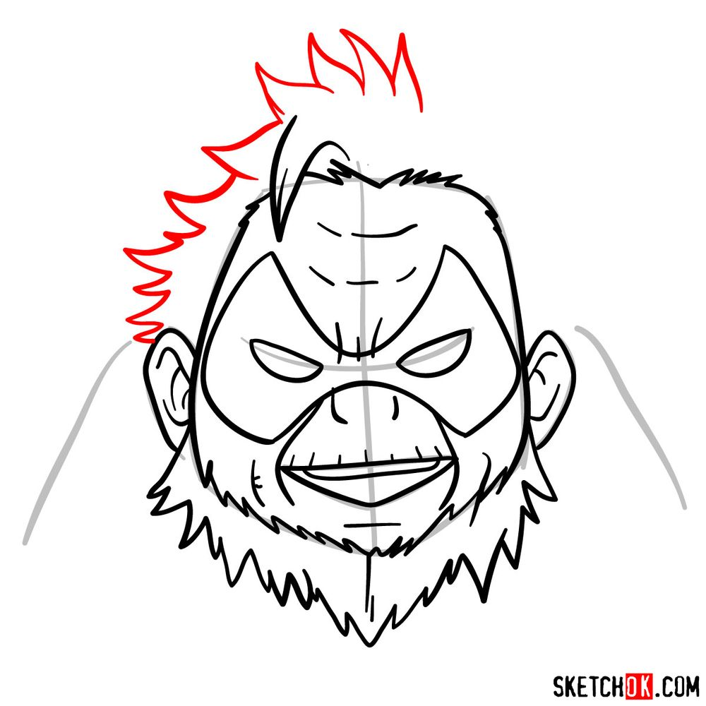 How to draw Gran Torino's face | My Hero Academia - step 09