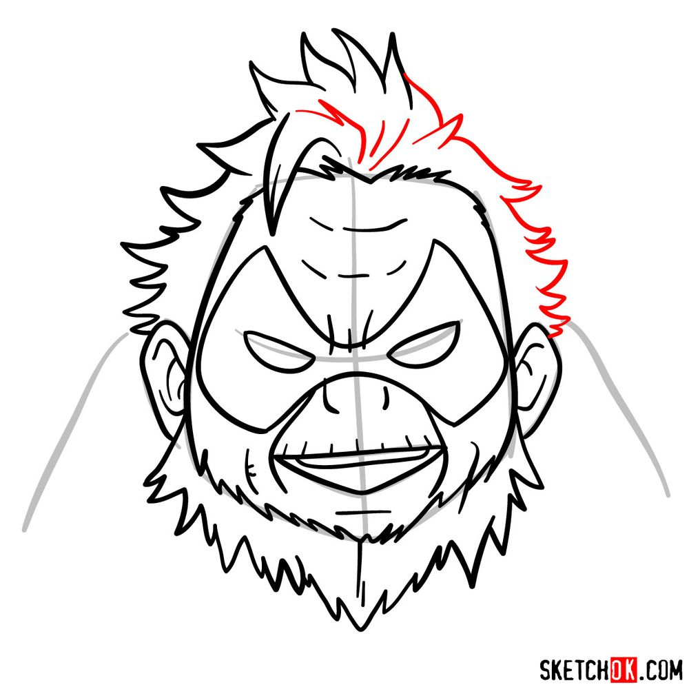How to draw Gran Torino's face | My Hero Academia - step 10