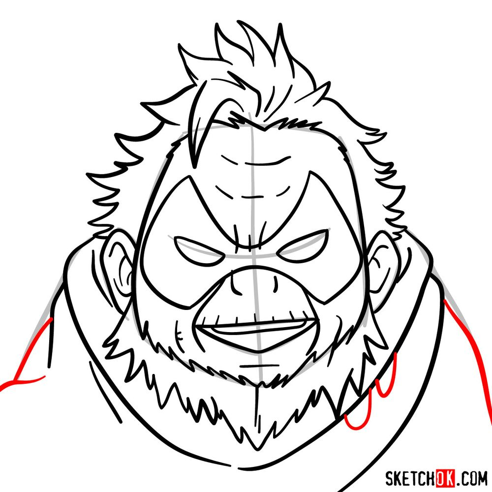How to draw Gran Torino's face | My Hero Academia - step 12