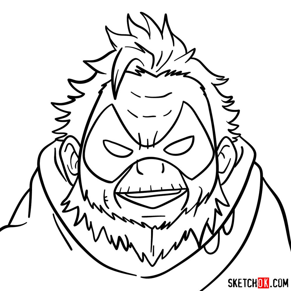 How to draw Gran Torino's face | My Hero Academia - step 13