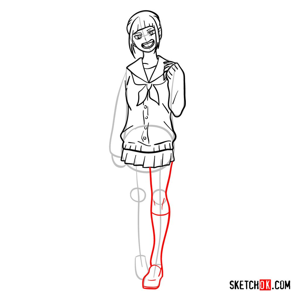 How to draw Himiko Toga as a civilian - step 11