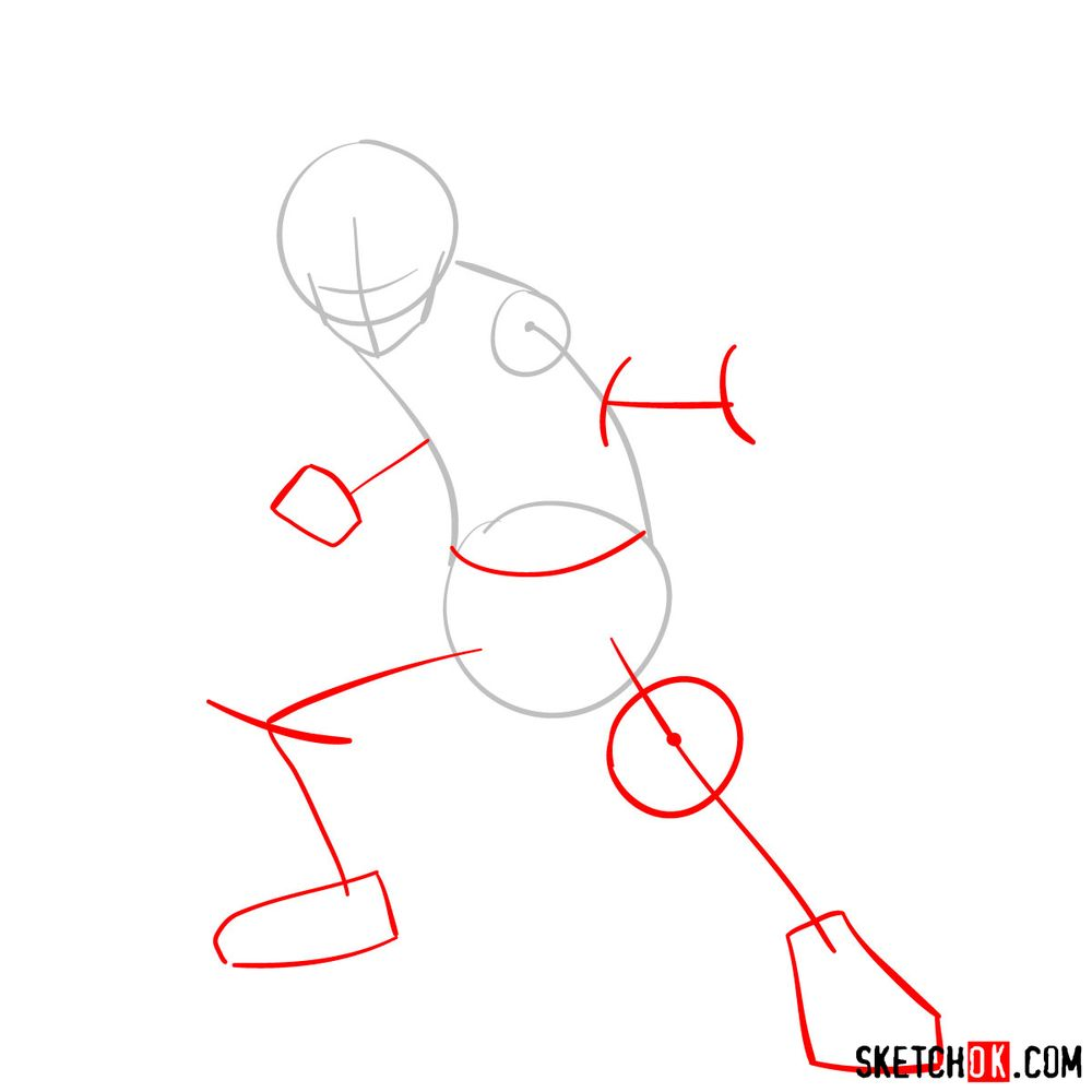 How to draw Shoto Todoroki in action pose - step 02