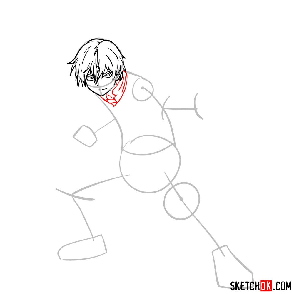 How to draw Shoto Todoroki in action pose - step 07